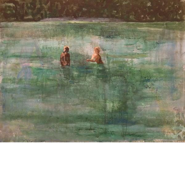 """Helmtrud Nyström. """"Bad"""", 2012, akryl på papper 50×65 cm"""