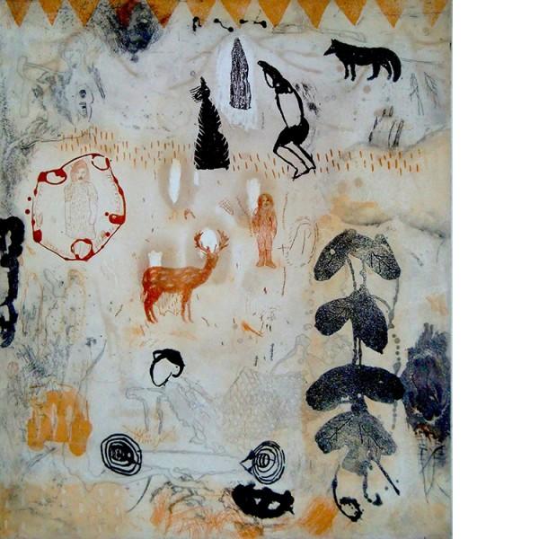 """Helmtrud Nyström. """"Broder och syster"""", 2003, färgetsning 59×49 cm"""