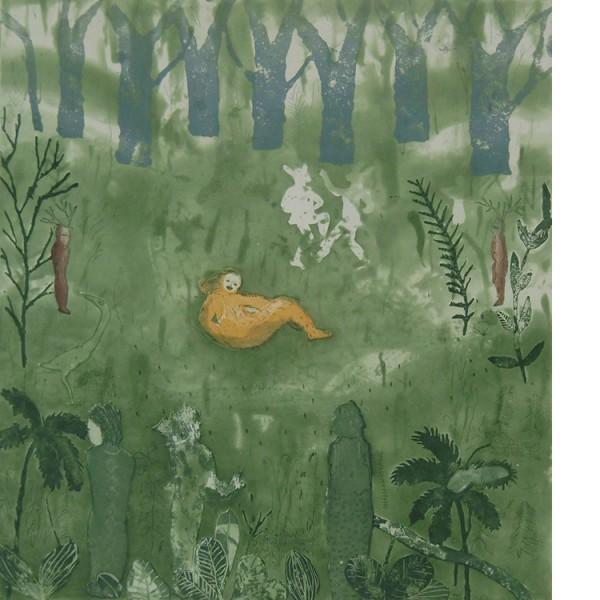 """Helmtrud Nyström. """"Bruddans"""" 2001, färgetsning 49×45 cm"""