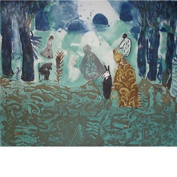 """Helmtrud Nyström. """"Engelsk trädgård"""" 1997, färgetsning 49×59 cm"""