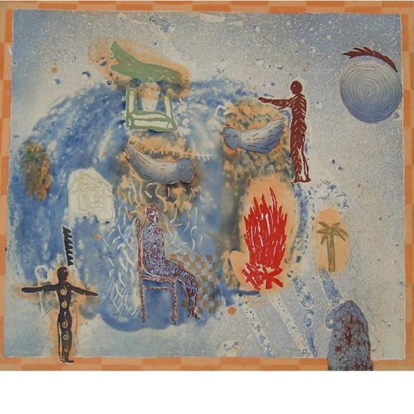 """Helmtrud Nyström. """"Frukost med J."""", 1997, färgetsning 49×54 cm"""