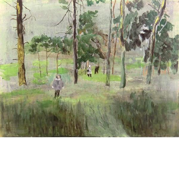 """Helmtrud Nyström. """"Korta möten"""", 2012, akryl på papper 50×65 cm"""