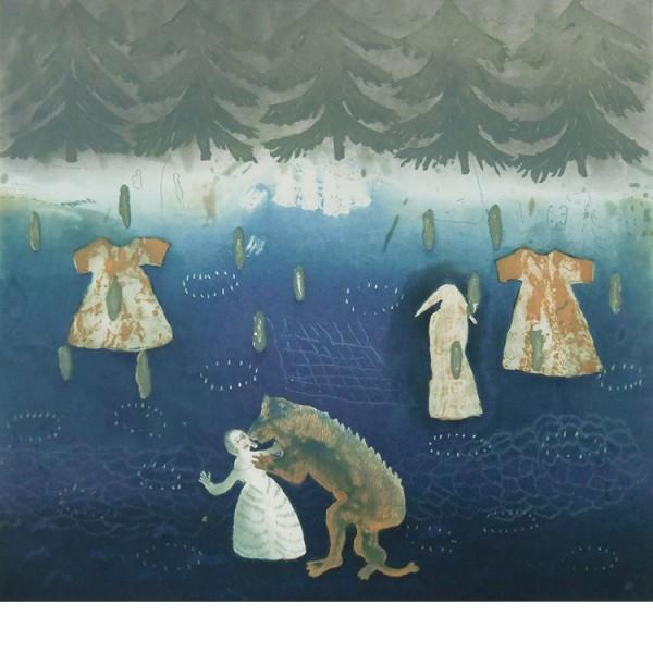 """Helmtrud Nyström. """"Oh,vilken varg"""", 2001, färgetsning 48x45cm"""