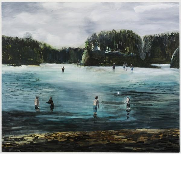 """Helmtrud Nyström. """"Ön"""", 2012, akryl på duk 130×140 cm"""