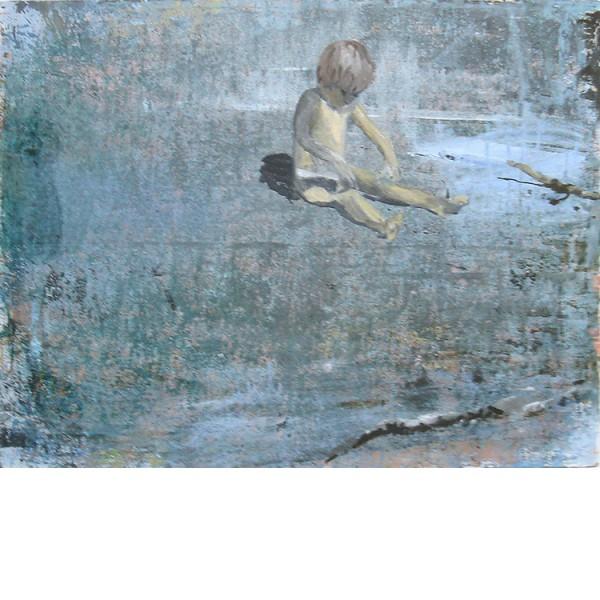 "Helmtrud Nyström. ""Sandlek"", 2009, akryl på papper 50×65 cm"