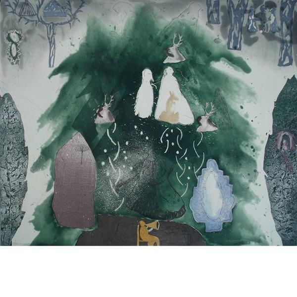"""Helmtrud Nyström. """"Skogshare"""" 1997, färgetsning 49×59 cm"""