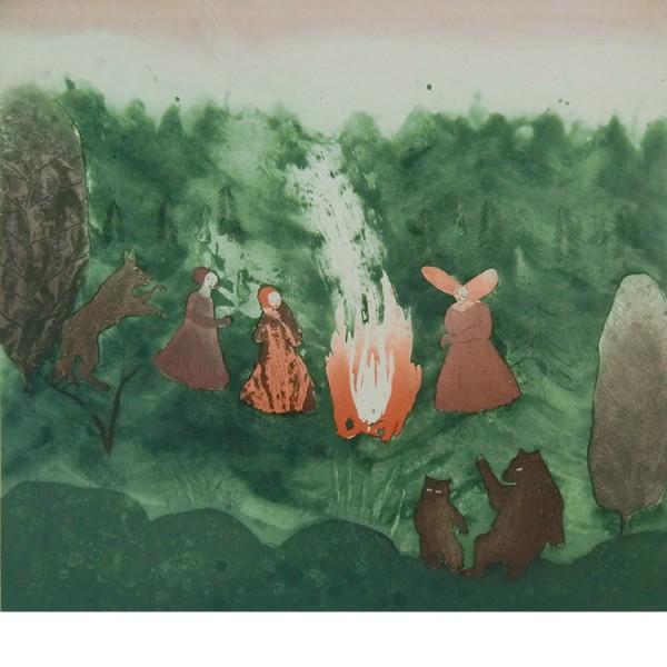 """Helmtrud Nyström. """"Tenngjutning"""" 2001, färgetsning 45×49 cm"""