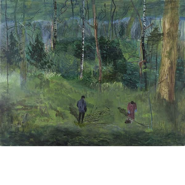 "Helmtrud Nyström. ""Samla ved"", 2014, akryl på duk 145×115 cm"