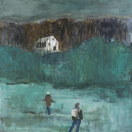 """Helmtrud Nyström. """"Två vandrare"""", 2013, akryl på duk 65×65 cm"""
